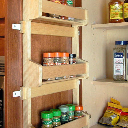 Door Mount Wood Spice Rack