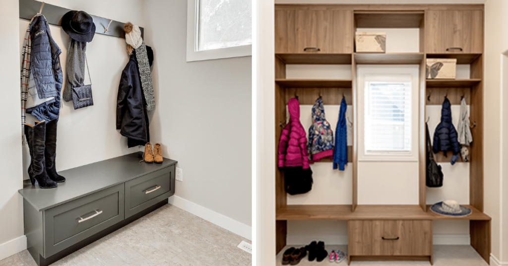 Split image, left side with a custom mudroom with green cabinets, right side with walnut wood mudroom with coat hooks and a bench seat.