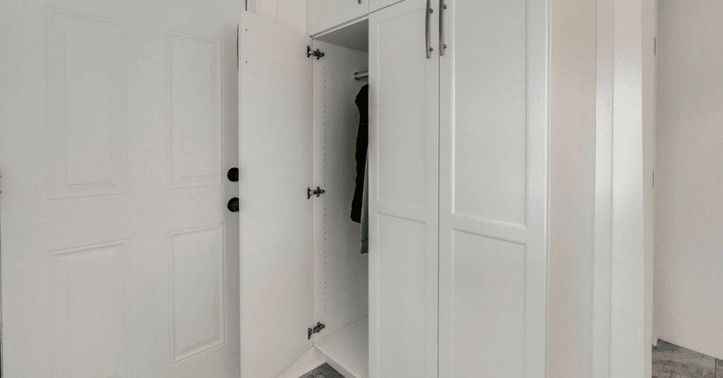 Excerpt Text: If you are planning a Mudroom, don't make these common mistakes. If you are planning a Mudroom, avoid these common planning and design mistakes.   METADATA: Superior Cabinets BLOG – Common Mudroom Design Oversights, Author - Shahan Fancy. Custom mudroom with white and brown cabinets, ample shoe storage, design by Superior Cabinets.  Custom mudroom with a teal wall, white cabinets, coats, hats and bags hanging on hooks, cabinet design by Superior Cabinets.   Custom pantry mudroom, white cabinets by Superior Cabinets.